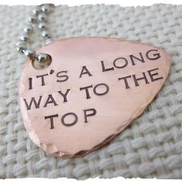 Personalized Hand Stamped Guitar Pick Necklace It's a long way to the top gift for music student graduation inspiration for him for her