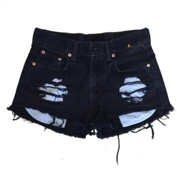 Women's High Waisted Black Denim Shredded Destroyed Levi Ripped Shorts