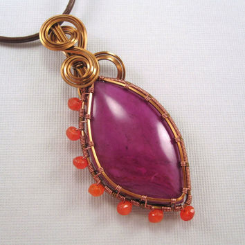 Wire Wrapped Pendant, Sugilite Cabochon in Copper with Carnelian Accents on Brown Leather Cord Necklace