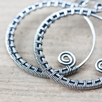 Oxidized sterling silver hoop earrings, Wire wrapped hoop earrings, handcrafted artisan jewelry