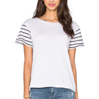 Ragdoll Short Sleeve Stripes Tee in Optic White with Faded Black Stripes