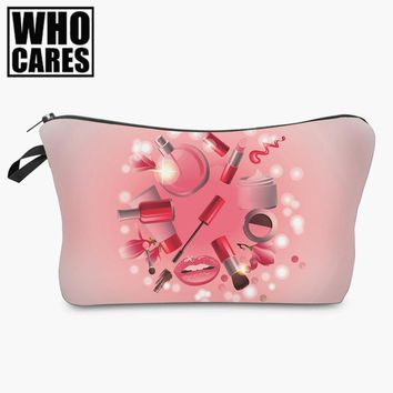 beauty 3D printing Cosmetic Bag women makeup bag 2017 Fashion New cosmetic cares trousse de maquillage neceser