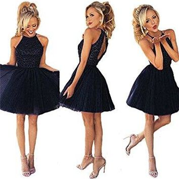Short Beading Keyhole Back Tulle Homecoming Dresses Prom Gowns