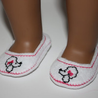 "18 inch Doll Shoes, Poodle on White Felt Easy Slip On Doll Shoes fit 18"" Doll  Firs american girl"
