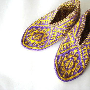 Purple & yellow Traditional Turkish Hand Knit Slippers Socks for men and women, home shoes, womens Socks Slippers