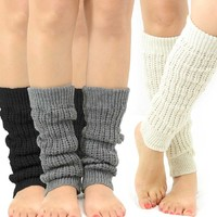 TeeHee Women's Fashion Cable Knit Leg Warmers 3-Pack Assorted Colors