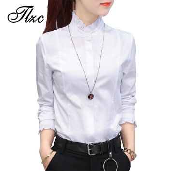 TLZC 2017 Spring New Women Blouses White Size S-2XL Fashion Korea Mandarin Collar Elegant Lady Cotton Slim Shirt Tops