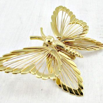 Vintage Gold Butterfly Brooch Pin, Designer MONET Brooch, Wirework Jewelry, Bug Insect Brooch, 1970s Vintage Jewelry, Christmas Gift for Her