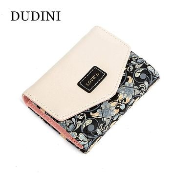 DUDINI New Arrived Flowers Printing Wallet Fashion Hit Color Clutch Purse Ladies Coin And Money Card Holder