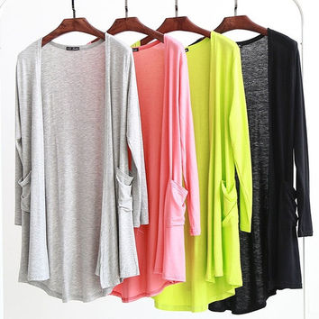 2015 Women's Long Sleeves Draped Irregular Hem Front Open Cardigan = 1920223748