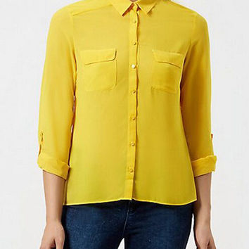 Yellow Chiffon Long Sleeve Pointed Flat Collar Double Pocket Blouse