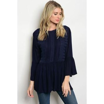 Bell Sleeve Baby Doll Tunic Top