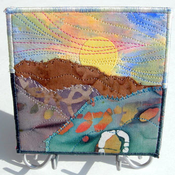 Quilted Magnet Fabric Magnet Handmade Mountain Sunset Landscape Refrigerator Magnet Office Magnet Mini Quilted Landscape Home Decor