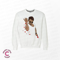 Salt Bae Sweater - Funny Sweater - Heart Bae Sweater - Turkish Meat Guy - Dank Meme Sweater - White Premium Cotton Sweater