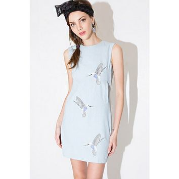 Light Blue Hummingbird Shift Dress