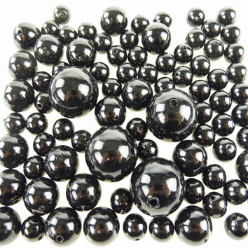 Plastic Pearl Balls Vase Filler, 14mm, 20mm, 30mm, 84-pack, Black