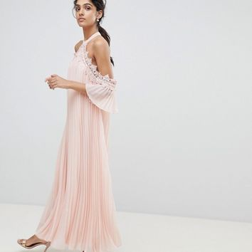 True Decadence Tall Pleated Swing Dress With Cold Shoulder Detail at asos.com
