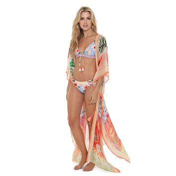 Agua Bendita Sam Pastel Tropic Tunic Beach Dress Resort Wear