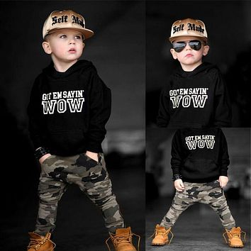 Hot Sale Newborn Baby Boys Clothes Hoodie Camouflage Pants Pullover Letter Print Hooded Tops Sweatshirt Kids Outfits 2Pcs Set
