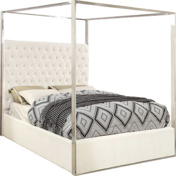 Porter White Velvet King Bed