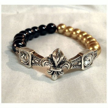 New Orleans Saints Bracelet and Earring Set/ Fleur De Lis Bead Bracelet/ Saints Bead Earrings/ Fleur De Lis Earrings/ FREE SHIPPNG