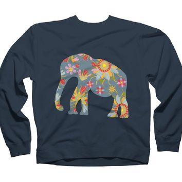 Elephant Women's Graphic Crew Sweatshirt - Design By Humans