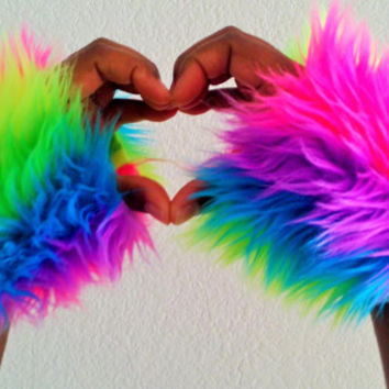 Neon Rainbow Furry Fluffy Vertical Striped Rave Wrist Cuffs