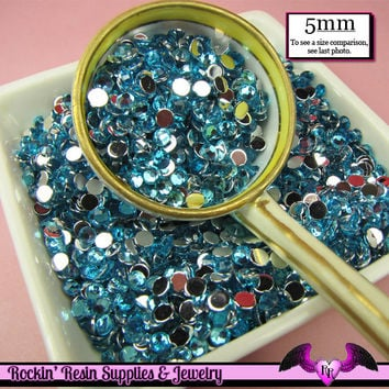 200 pcs 5mm OCEAN BLUE RHINESTONES Flatback Great Quality