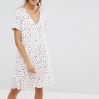 Pieces Enna Ditsy Floral Print Drop Waist Dress at asos.com