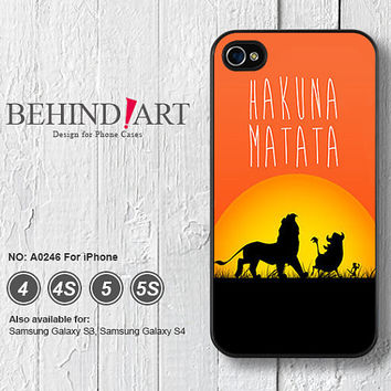 Phone Cases iPhone 5 case iPhone 5C Case iPhone 5S case iPhone 4 Case iPhone 4S Case Phone Covers iPhone Case Hakuna Matata-A0246