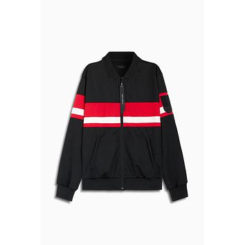 LA track jacket / black + red + ivory