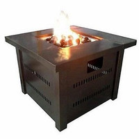 Patio Fire Pit Outdoor Backyard Table Fireplace Bronze Heater Propane Square