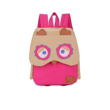 Cut Kids Baby owl School Backpack 4 color choose Canvas Printing Cartoon animal small Book Bags Kids Backpack For Girls and boys