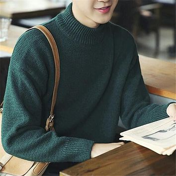 Harajuku Korean Fashion Style Sweaters Men Solid Colors Loose Cotton Knited Pullovers Homme Turtleneck Warm Crocheted Sweater