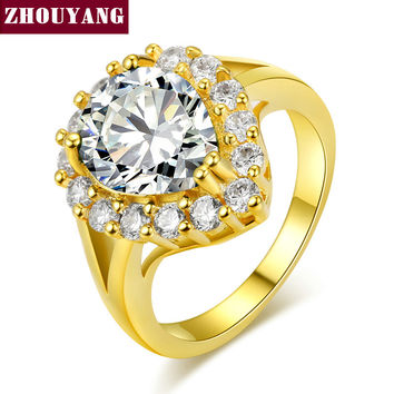 Yellow Gold Plated Plated Princess Tears Water Drop Fashion Ring Jewelry For Women As Promise Gift ZYR494 ZYR626