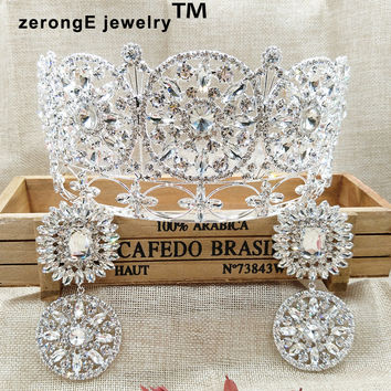 "zerongE jewelry3.5"" pageant luxury queen royal crown tiara brilliant crystal masquerade head crown with jewelry earring dangling"