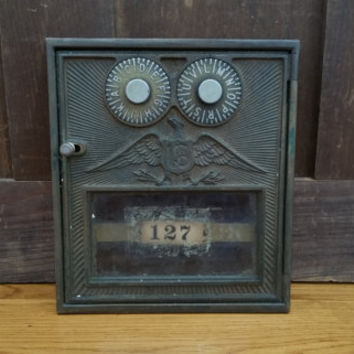 Vintage Brass Corbin Double Combo Eagle Post Office Box Door
