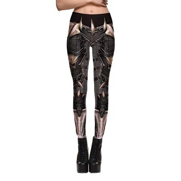 New Fashion Armor Robot Animation Women's Machine Leggings Digital Print Pants Trousers Stretch Pants 2017