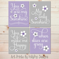 You are My Sunshine Nursery Art Purple Gray Floral Nursery Song Lyrics Wall Decor Toddler Girls Room Art Prints Set of 4 Custom Colors #1034