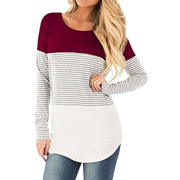Women Casual Long Sleeve Striped Patchwork Stretchy Tops Blouse T-Shirt