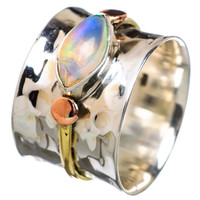 Ethiopian Opal Fancy Stone Three Tone Band Ring