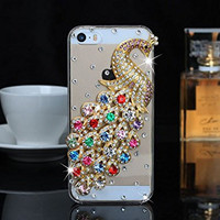 "iPhone 6 Case, MC Fashion Peacock Crystal Rhinestone 3D Diamante Hard Shell Phone Case Compatible for Apple iPhone 6 4.7"" (2014) ONLY (Multicolor)"
