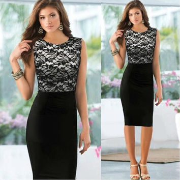 2014 Pinup Elegant Floral Lace Tunic Dress Knee-Length Colorblock Shift  Casual Pencil Dress