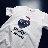 Play Kawakubo Becker X Kitty joint T-shirt simple cotton cylinder Black