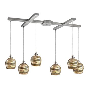 528-6GLD Fusion 6 Light Pendant In Satin Nickel And Gold Leaf Glass
