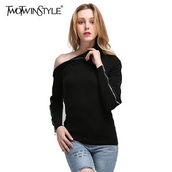 TWOTWINSTYLE 2017 Knitted Off Shoulder Pullovers Sweater for Women Long Sleeve Turtleneck Female Jumper Zipper Black Clothing
