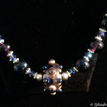 Lampwork Glass Bead Necklace with Swarovsky Crystals