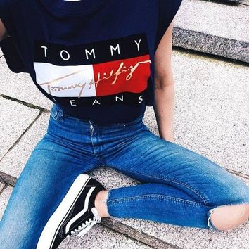 CREYON Tommy Hilfiger Jeans Cropped Top Tee