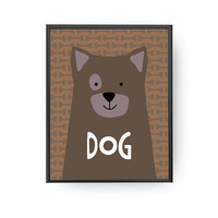 Dog Typography, Children's Learning, Nursery Art, Education Poster, Dog Print, Typography Poster, Cute Animal Print, Kids Print, Kids Poster