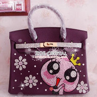 Swarovski / Czech Crystals - Hermes Birkin Inspired Leather Purse / Handbag with Big Eyes Queen - ZoeCrystal
